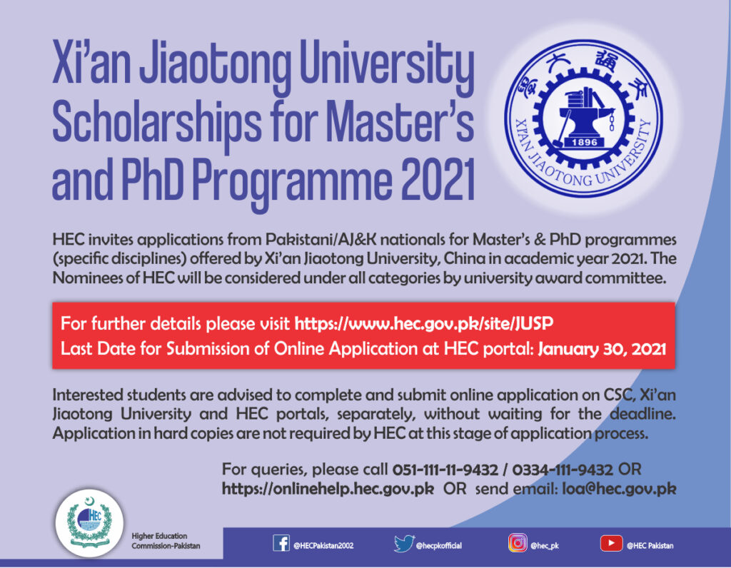 HEC calls for Master's, PhD scholarships to China 1